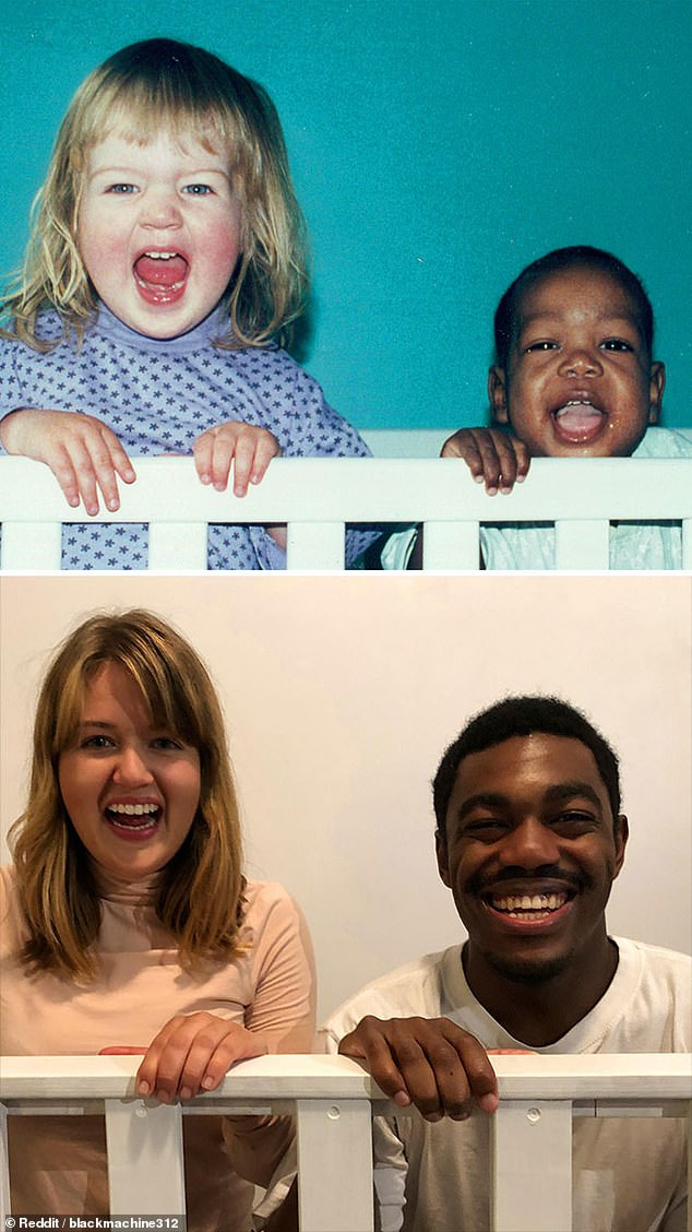 To recreate their first picture together when the man was adopted 22 years ago, this brother and sister painted a bed frame white so they could clutch on to it and make it look like their cot as children in a bid to recreate the treasured picture again