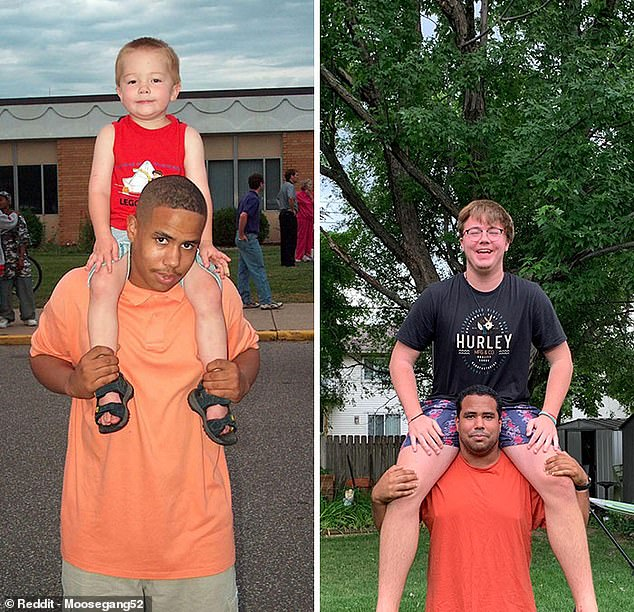 They grow so fast: These cousins, from the US, pictured left in 2005 and right in 2020, decided to remake one of their favourite pictures together