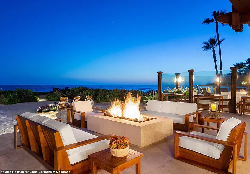 There are seven fire places on the property including several outdoor fire pits on the patio