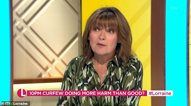Livid:Lorraine has not held back from slamming the anti-lockdown protests that took place in London over the weekend