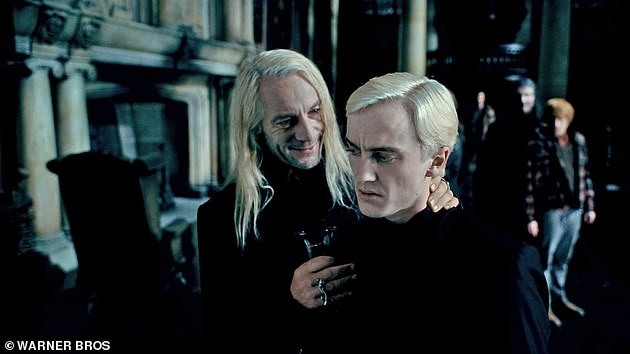 Reunion: Jason played Lucius Malfoy across the eight Harry Potter movies [pictured with his on-screen son Draco, played by Tom Felton]