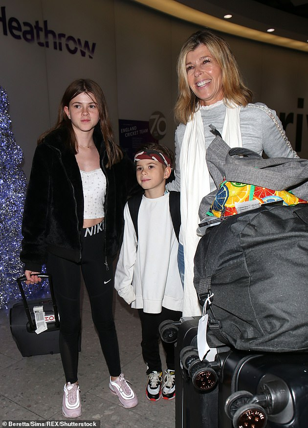 Doting mother:Kate and Derek married in 2005, and share daughter Darcey, 14, and son Billy, 11 [pictured in December]