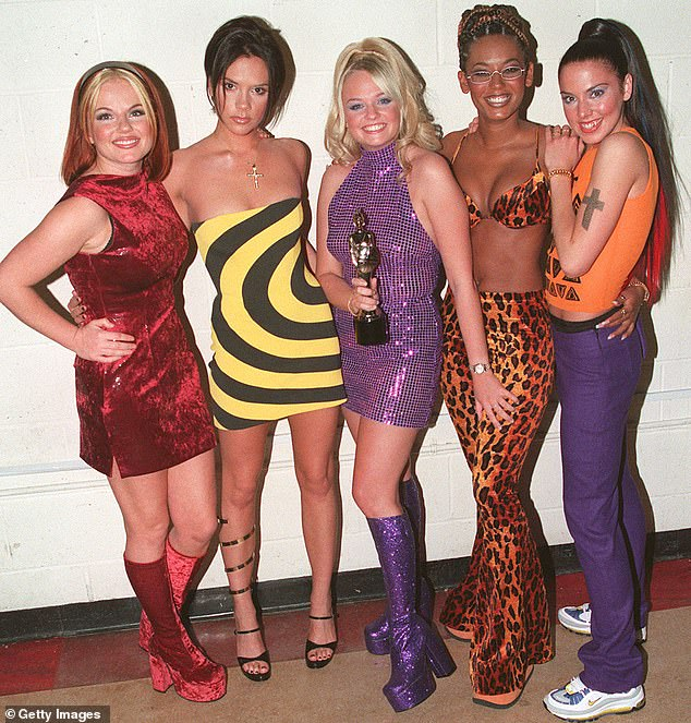 Mel B earlier told The Mirror: 'I talked a lot to Ash about PTSD. I suffer from it as a result of an emotional abusive marriage and he suffered from it as a result of what he went through and what he saw in war zones.' Pictured:Geri Halliwell, Victoria Adams, Emma Bunton, Melanie Brown (also known as Mel B) and Melanie Chisholm in the Spice Girls
