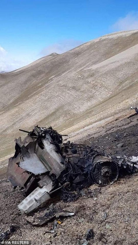 Armenia has revealed photos of the wreckage of its SU-25 fighter jet which it claims was shot down by a Turkish F-16 over the the Caucasus Mountains