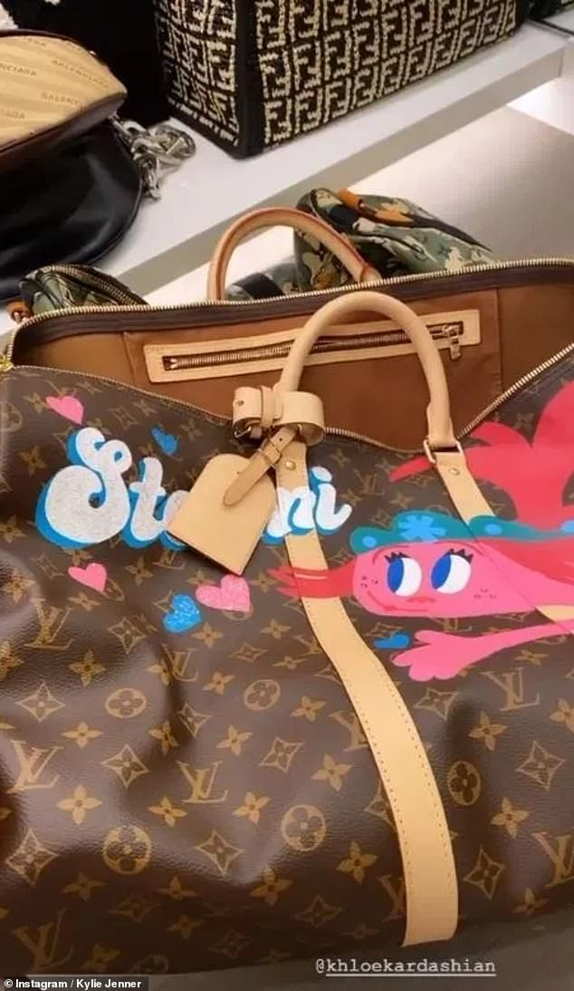 So cool: Earlier this year, her aunt Khloe Kardashian gifted her with a customized Louis Vuitton Weekender bag featuring characters from her favorite movie - Trolls - as well as her name Stormi - emblazoned on the bag