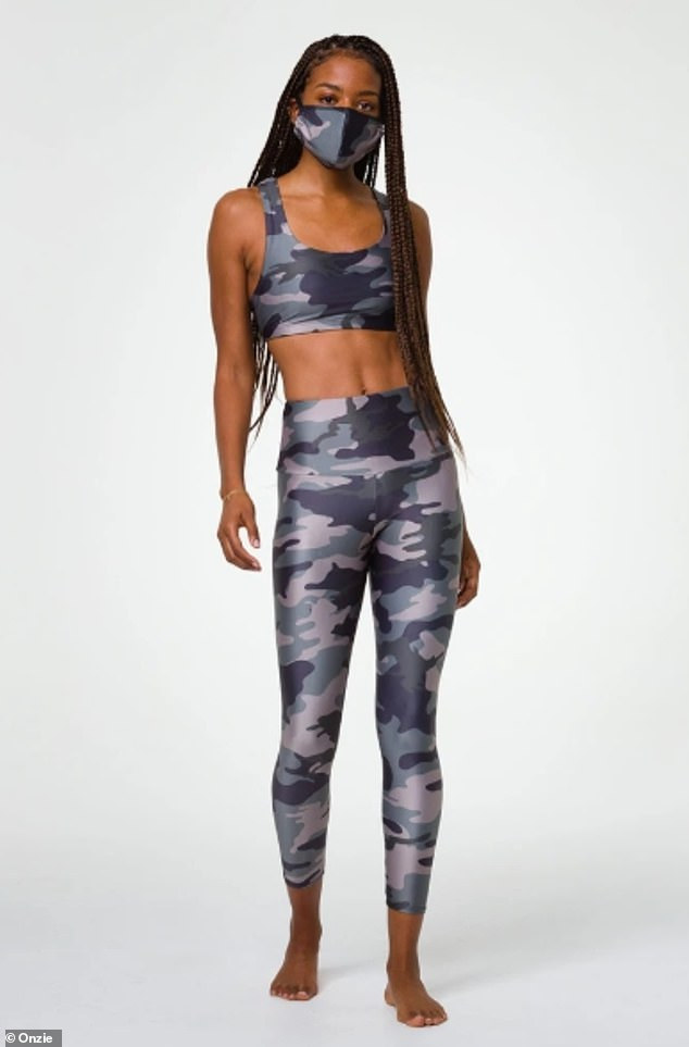 Stay active: Brands like Champion, Onzie (pictured) and Adidas are producing moisture wicking face masks that stay cool and stay put during excessive activity