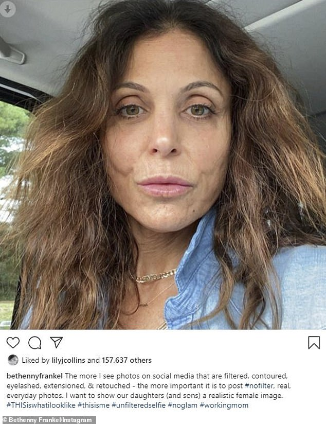 Bethenny Frankel shares a filter free, makeup free selfie to show a 'realistic female image'