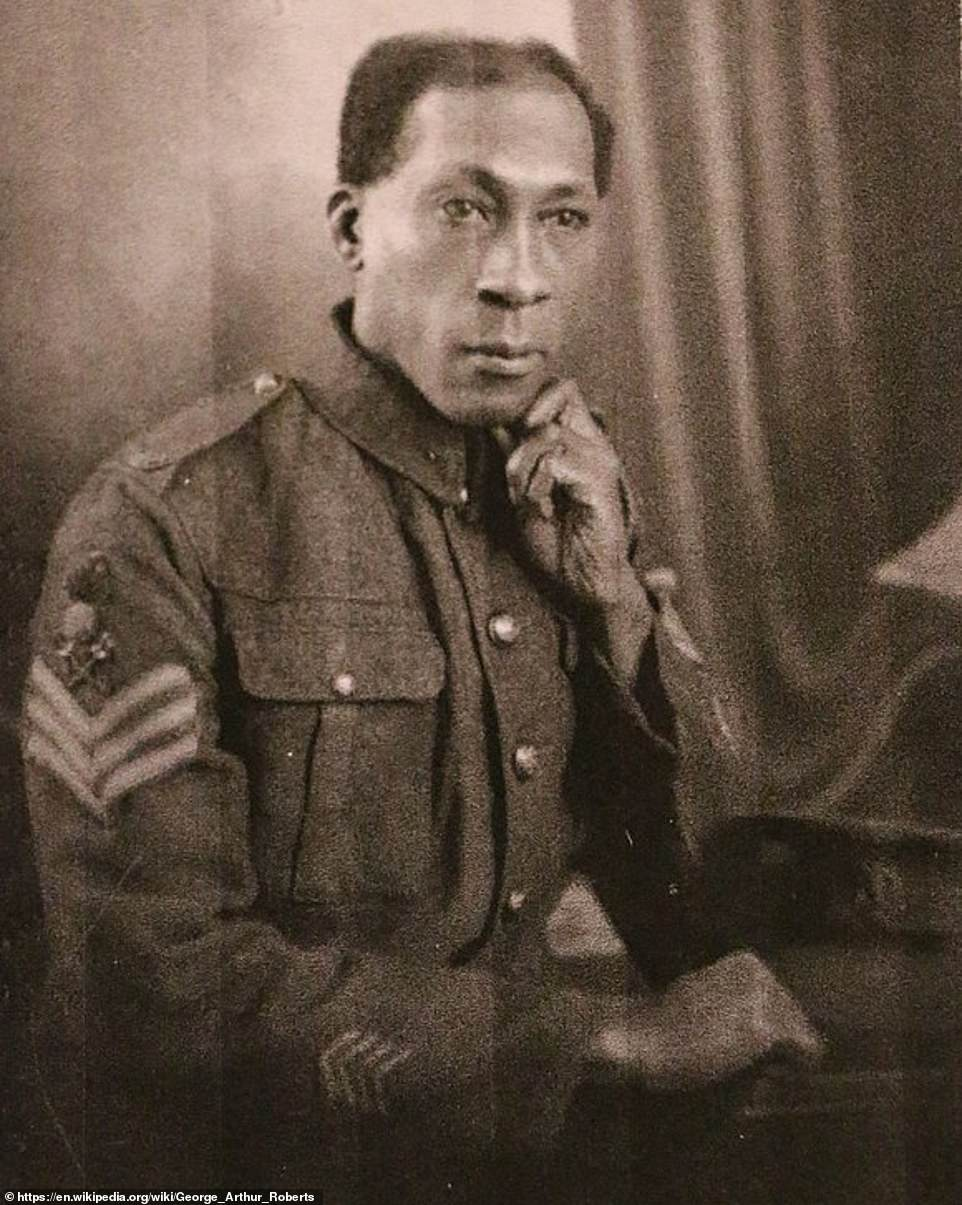 The exploits of a black First World War hero whose courage saw him run towards hand grenades and hurl them back at the enemy - and who later became a firefighter during the Blitz - have emerged in a new book 80 years on. Rifleman George Roberts (above) was born in Trinidad but in 1914 he enlisted for Army service in Britain, which he saw as his