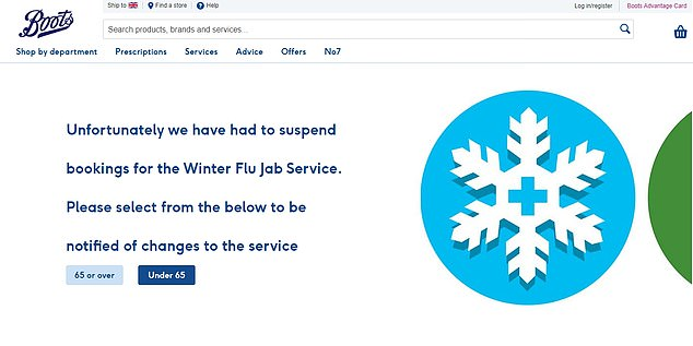 Boots has suspended its booking system for flu jabs amid an