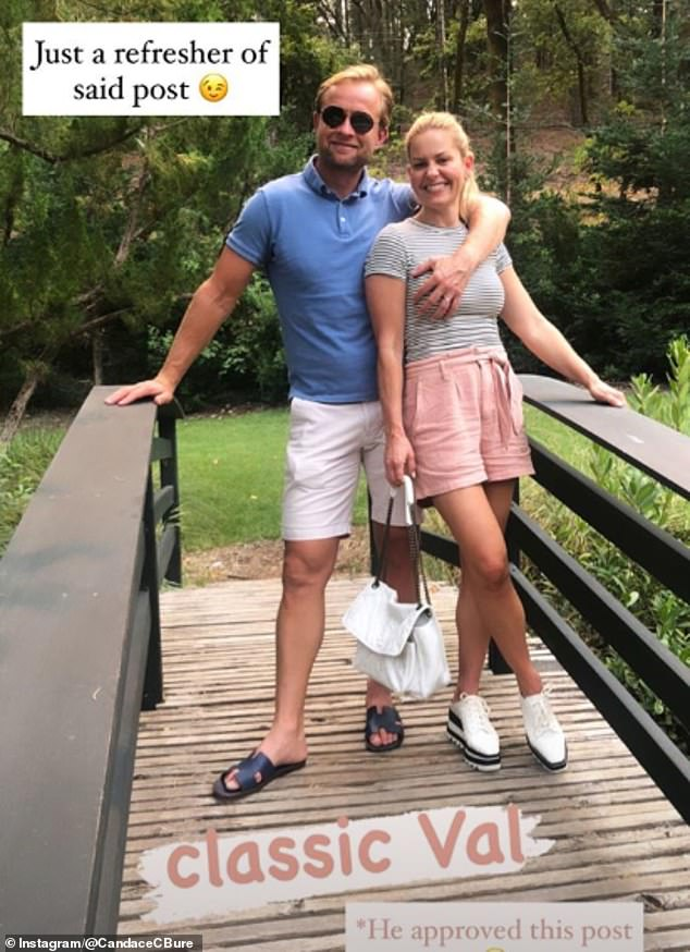 Hitting back: Candace Cameron Bure, 44, has defended her photo of her husband Vale Bure, 46, touching her breast after her some of her