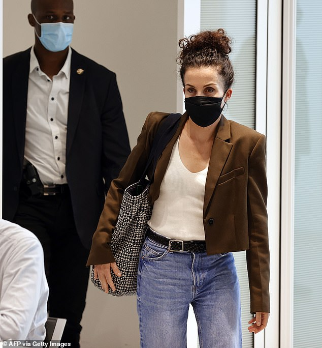 Corinne Rey, 38m who appeared as a witness today, leaves the Paris