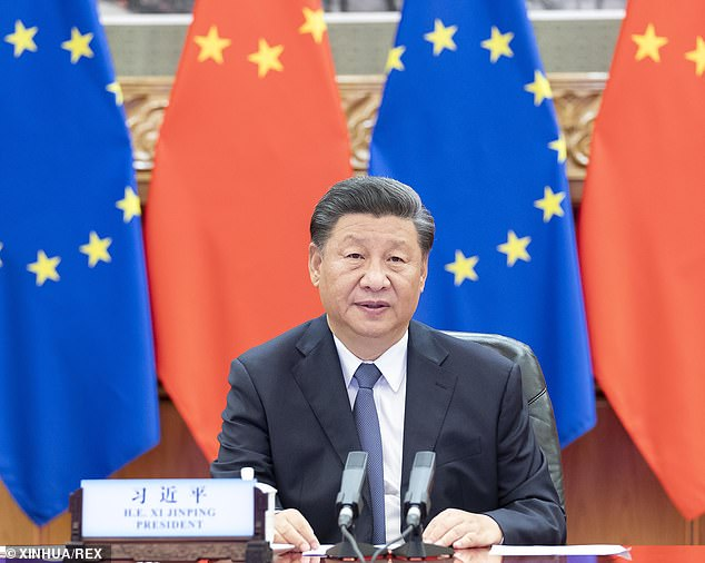 A Chinese software firm that allegedly provides intelligence to the Chinese government has been collecting data from Americans - including prominent public figures and military leaders - since 2017. Pictured President Xi Jinping