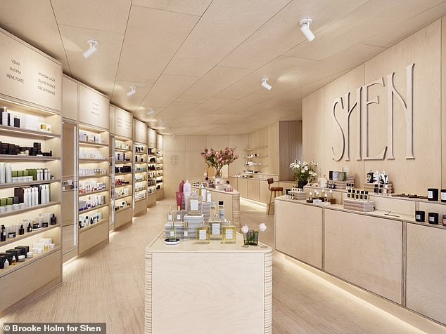 """Design delight: The stunning new 1550 sq ft. space on Court Street in Cobble Hill, Brooklyn, was created by leading design collective Mythology who were inspiredthe unpretentious nature of Jessica's low-key """"in-the-know"""" approach to beauty and shopping services"""