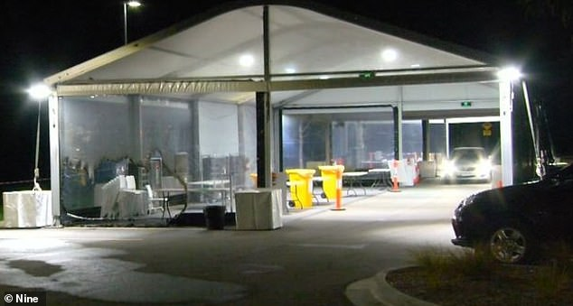A coronavirus testing site in Mernda, north Melbourne, (pictured) was set on fire around 10.35pm on Monday night and a security guard on duty contacted emergency services