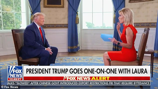 Donald Trump, left, spoke to Laura Ingraham, right, on Monday on Fox News.Probed on if he would