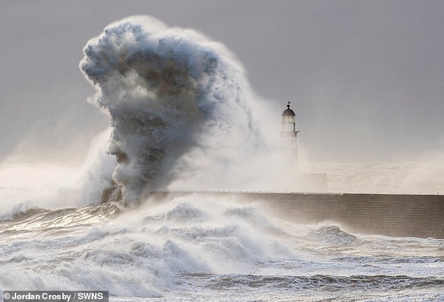 Face of Elvis appears in giant wave as 65mph winds hammer east coast