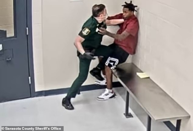 Terrance Devon Reed III was taken to hospital after deputy Neil Pizzo was filmed hitting him at the Sarasota County Juvenile Assessment Center last Tuesday