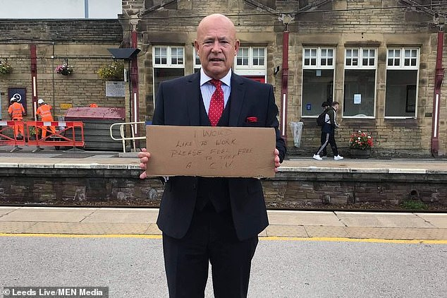 Trevor Walford, 63, stood in Leeds railway station last Tuesday and handed out his CV to anyone who would take it