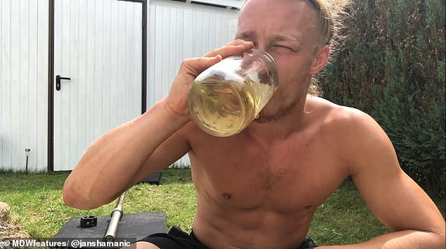 German manJan Schünemann, 26, from Hamburg,revealed he drinks seven pints of his own urine every day and claims to ingest some of it through his eyes, nose and ears