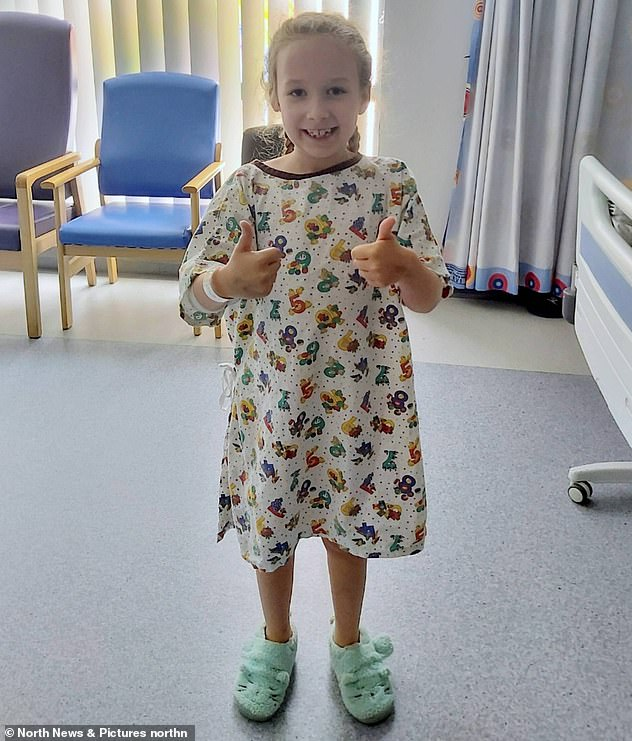 Evie Hodgson, eight, pictured in hospital, has aplastic anaemia - bone marrow failure - and is looking for a new bone marrow donor after her only match in the world dropped out at the last minute before the transplant went ahead