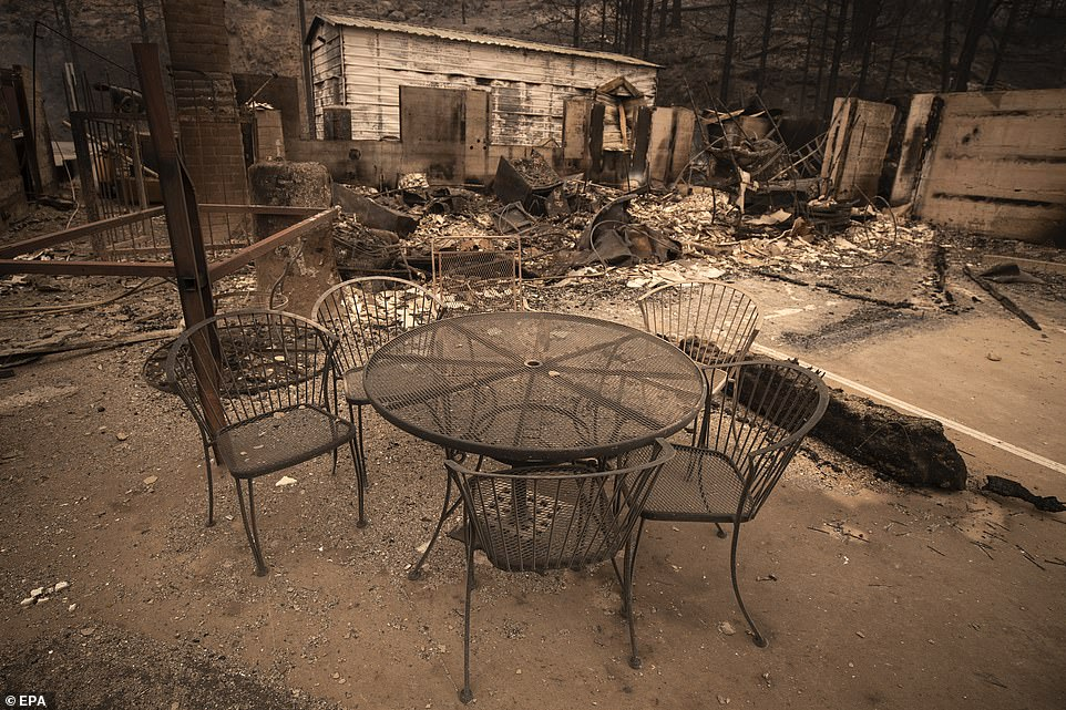 Outdoor furnituire stands next to a destroyed petrol station on State Route 168 after the Creek Fire passed though