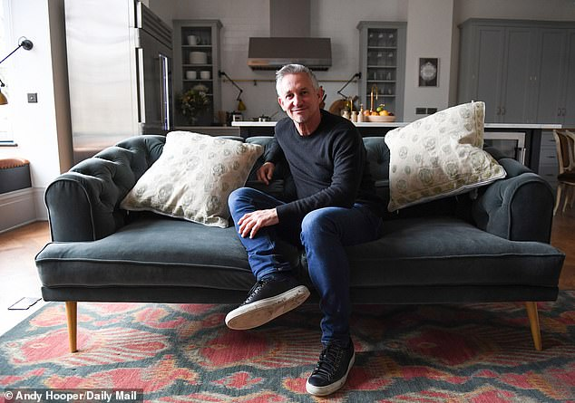 BBC presenter Gary Lineker, pictured at his home in Barnes, south west London, has invited a refugee to move into his mansion