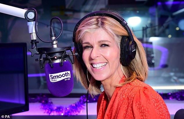Back in business: Kate Garraway confirmed on Sunday that she will be heading back to the Global studios in London to record her Smooth Radio show from 10am to 1pm this week
