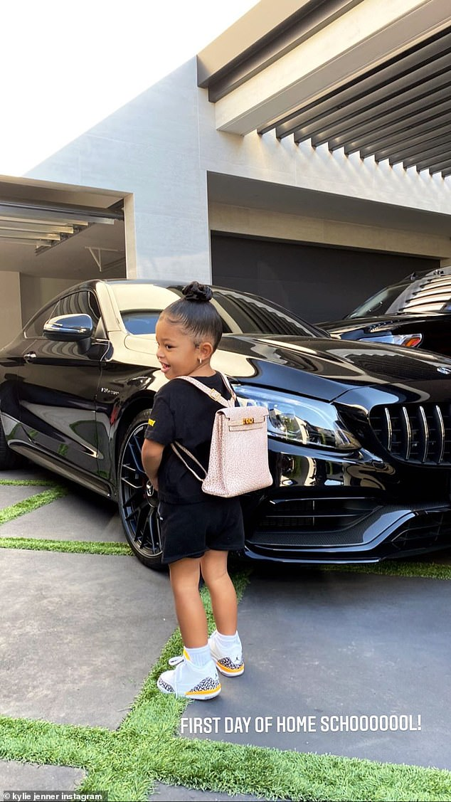 Now that is a backpack! She's no stranger the luxurious lifestyle, thanks to her mom Kylie Jenner. And on Wednesday morning, proud mom Kylie shared a snap of daughter Stormi, two, before school