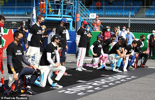 Lewis Hamilton was mysteriously missing from the line-up of F1 drivers taking the knee