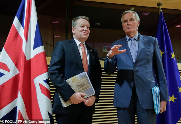 EU chief negotiator Michel Barnier (right) will travel to London for the unscheduled talks with David Frost (left) in a bid to break the deadlock