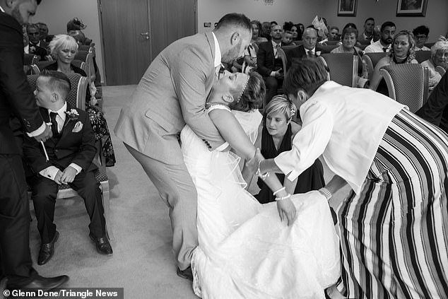 Moment bride who suffers daily seizures collapses in her husband's arms
