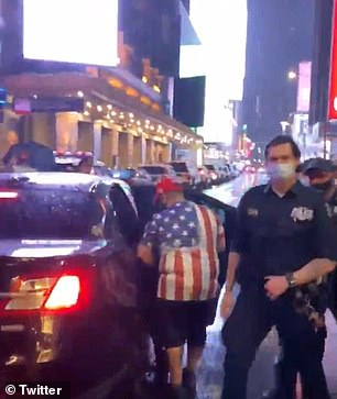 Video shows NYPD officers escorting Pro-Trump counterprotesters to the car that would later be seen plowing through a crowd of protesters in NYC