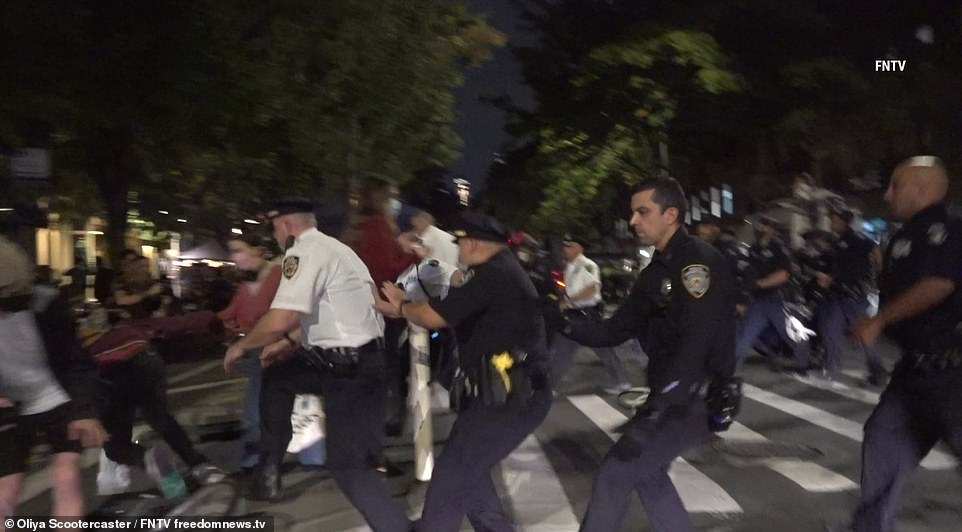 NYPD charge BLM protesters standing among diners in Manhattan as Portland erupts in violence
