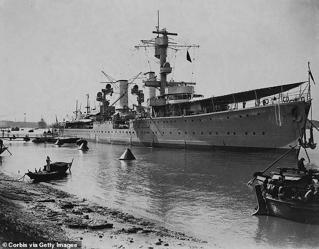 Nazi warship, the Karlsruhe, (pictured) was returning from the invasion of Norway in 1940 when it was hit by a torpedo from British submarine, the HMS Truant