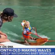 Parents defend teaching six-month-old baby to water ski