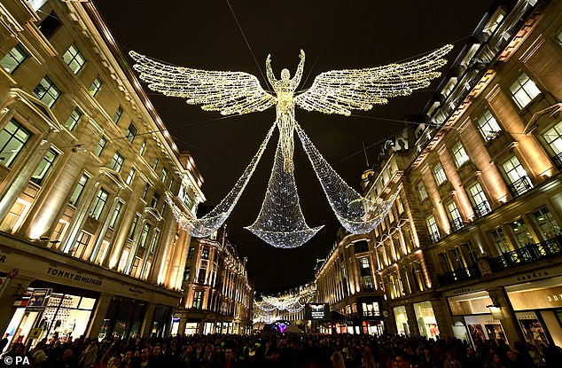 Christmas light switch-on ceremonies have been cancelled in some areas of the country over concerns that large gatherings, even outside, could help increase the spread of coronavirus. Pictured: Regent Street
