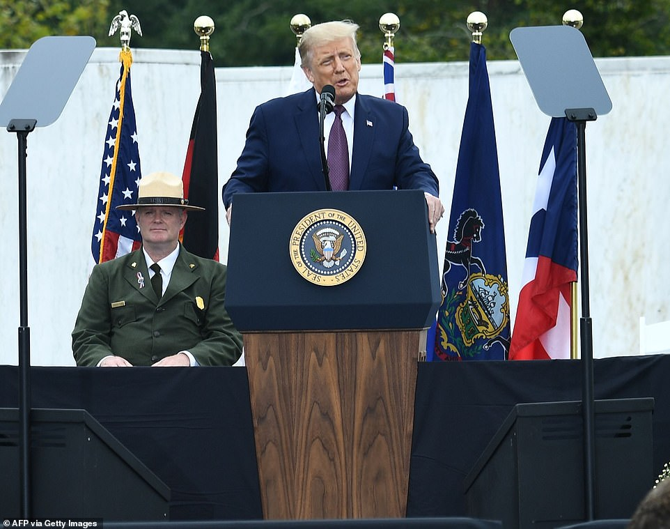 President Donald Trump paid tribute to those who died on September 11th and members of the military who lost their lives in the aftermath of the terrorist attacks when he spoke at a memorial service in Shanksville on Friday
