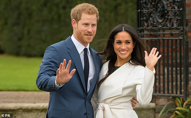 Prince Harry and Meghan Markle have announced they have signed deal with Netflix. Pictured, in the Sunken Garden at Kensington Palace, London, after the announcement of their engagement on 27 November 2017