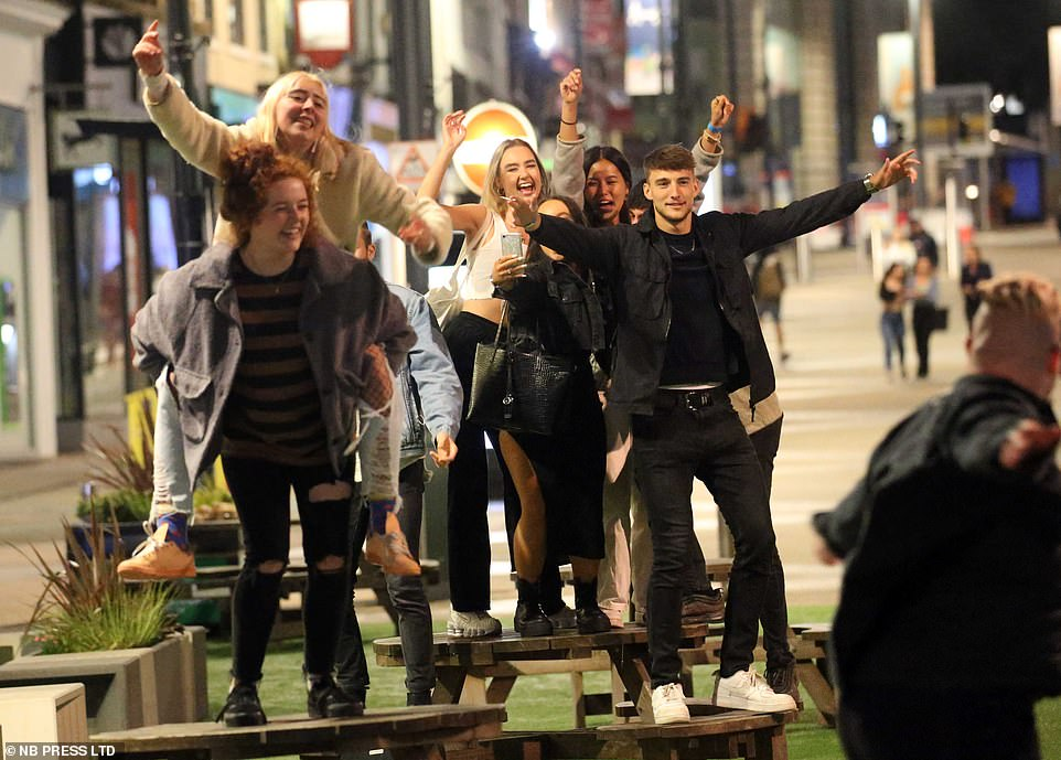 Revellers were spotted flouting social distancing rules on the streets of Leeds last night after a spike in coronavirus infections has seen the city be put on the Government