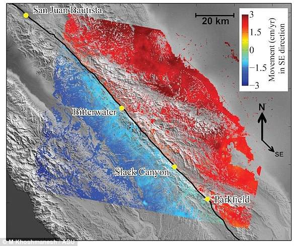 Synthetic aperture radar data for 2003 to 2010 let researchers team map the average rate of movement for  the central section of the San Andreas Fault (black line). Red shows ground movement toward the southeast, and blue to the northwest