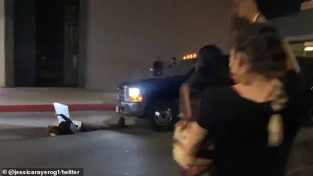 Shocking moment a pickup truck hits a female BLM protester in Hollywood