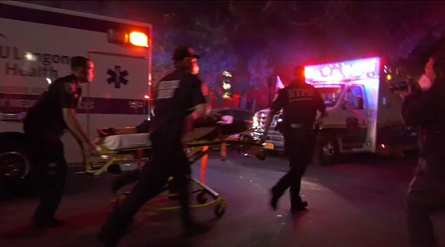Five people were shot and wounded, including a six-year-old boy, when gunfire erupted at an outdoor J