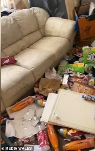 A stomach-churning video has captured the absolutely shocking mess found after tenants left their rented property in Swansea