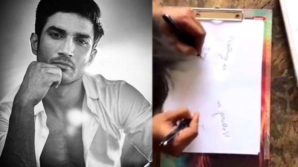 Sushant Singh Rajput writing with both hands in the video.