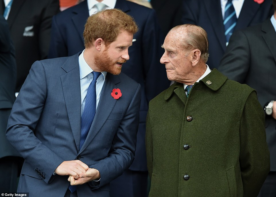 Prince Harry and Prince Philip pictured attending the 2015 Rugby World Cup Final match between New Zealand and Australia at Twickenham Stadium. The Duke has struggled greatly with what he sees as his grandson