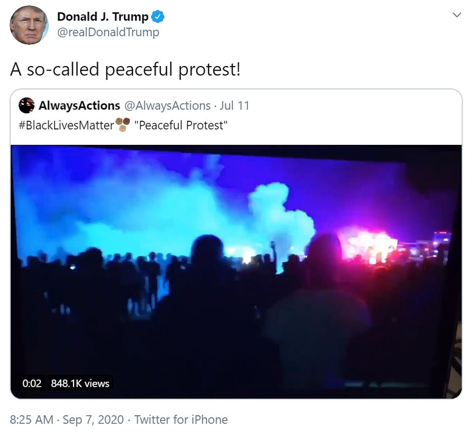 President Donald Trump lambasted Black Lives Matter demonstrations that were held in several US cities over Labor Day weekend by tweeting a two-month-old compilation video of protesters attacking police on Monday morning