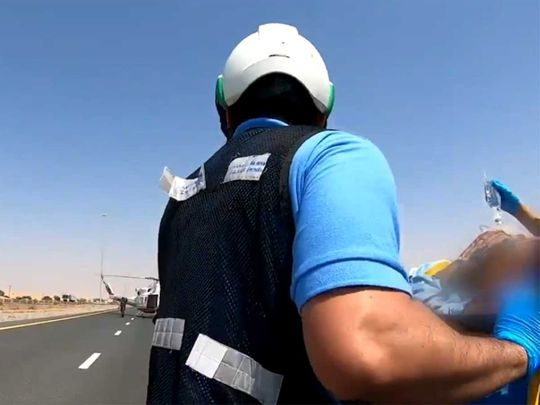 Video: Injured driver in UAE airlifted after collision on MBZ Road