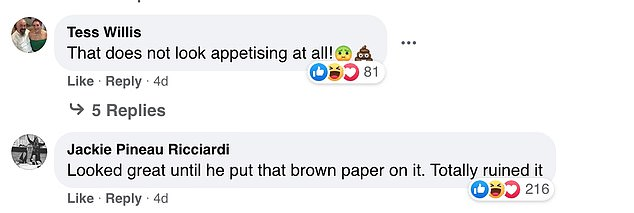 Some users weren't so kind about the dish, with many confused about the brown sheet added to the pudding at the end, joking the 'brown paper bag totally ruined it'