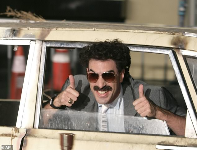 He's back! The highly-anticipated sequel to the actor's wildly successful 2006 comedy Borat, will premiere on Amazon after bosses bought the worldwide rights to the film and the new poster boasts the slogan: 'Wear mask. Save live' (pictured in 2006)