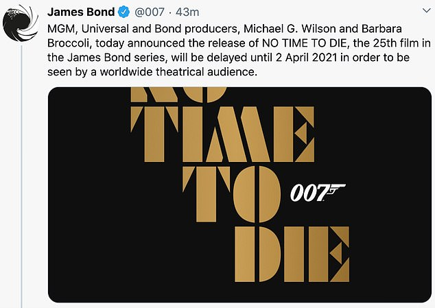 On Twitter MGM and Comcast Corp's Universal Pictures confirmed the movie release had been delayed